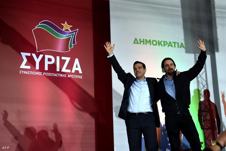 Iglesias a görög Sziriza vezetőjével ünnepli a Sziriza választási győzelmét.