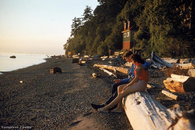 Egy pár nézi a naplementét Point Roberts partján