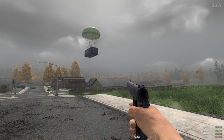 Így néz ki a 3 dolláros konténer, amiben fegyvereket kapunk a játékban. Lepottyan elénk ejtőernyővel, de nem csak mi vehetjük fel, hanem bárki, aki hamarabb odaér.