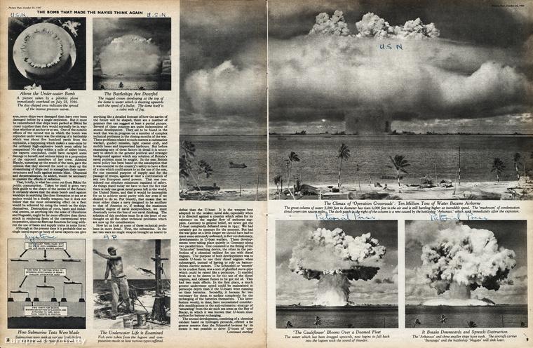 Egy 1947-es újságcikk a Picture Post-ból, amiben a Crossroads hadművelet során tesztelt nukleáris töltetek robbantásait mutatják be.
