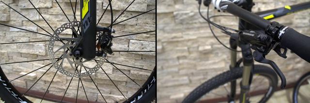 A hidraulikus tárcsafékes biciklik kerekét ha kiszedjük, könnyen kinyomhatjuk a szerkezetből az olajat. Ilyenkor csak szervizben tudják újratölteni a tartályát, ami a kép jobb oldalán látható