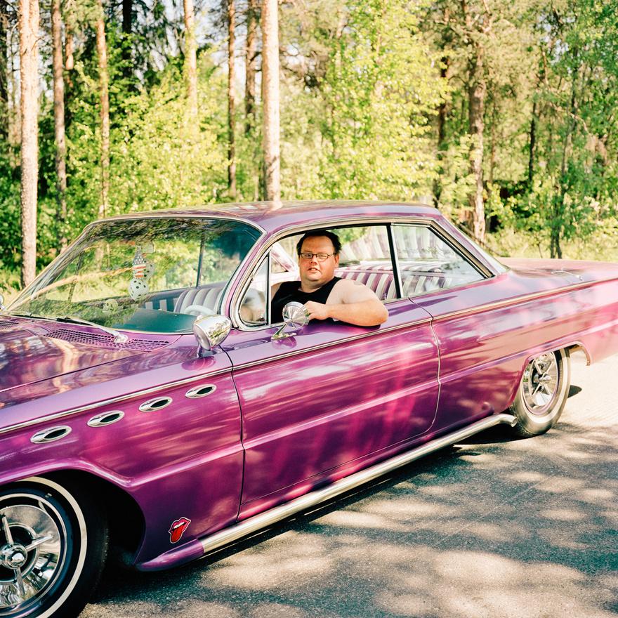 Tord Enlund veteránautó-rajongó a svédországi Jokkmokk közelében.