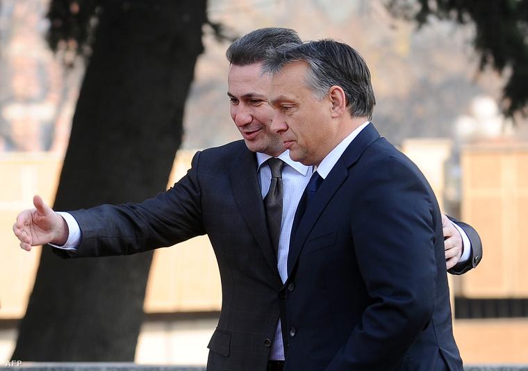 Nikola Gruevszki és Orbán Viktor Orbán egynapos macedóniai látogatásán 2013. októberében
