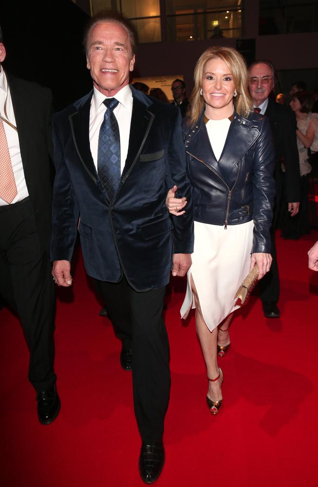 Schwarzenegger a nőjével, Heather Milligannel érkezett.