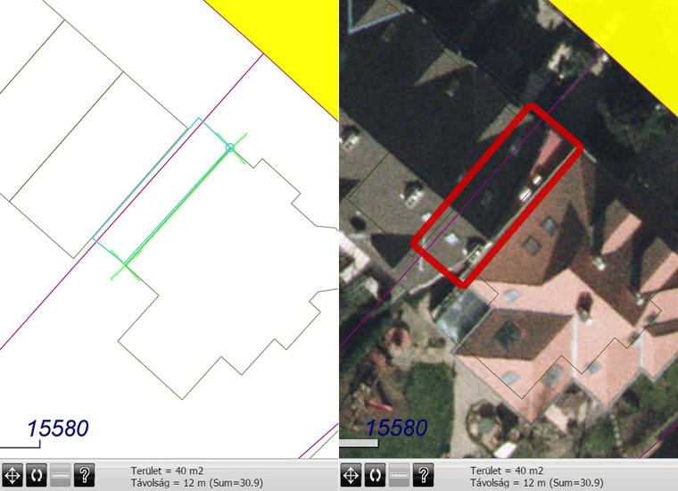 A papíron nem létező garázs a térinformatikai rendszer számítása szerint 40 négyzetméteres, és jól látható a Debrecen.hu légi fotóján is.