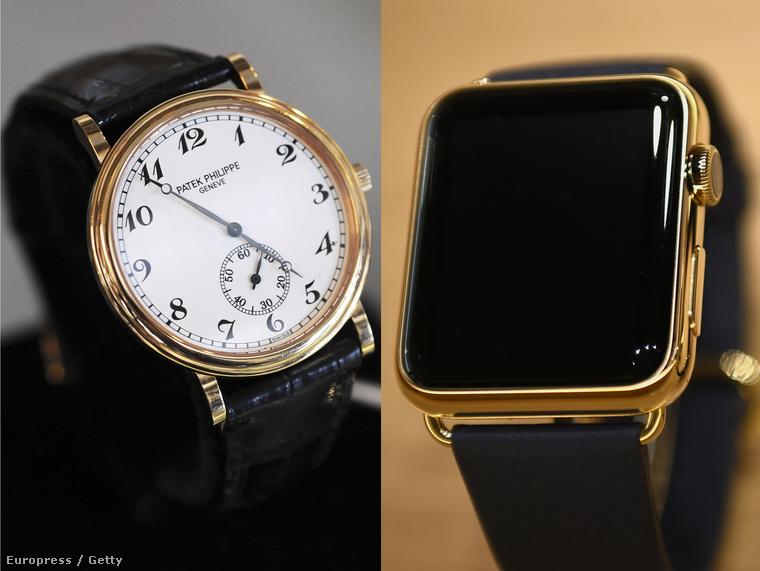 Balra egy Patek Philippe luxusóra, jobbra az Apple okosórája