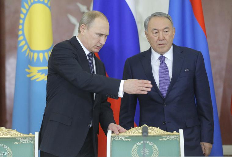 Putyin és Nazarbajev egy eurázsiai konferencián