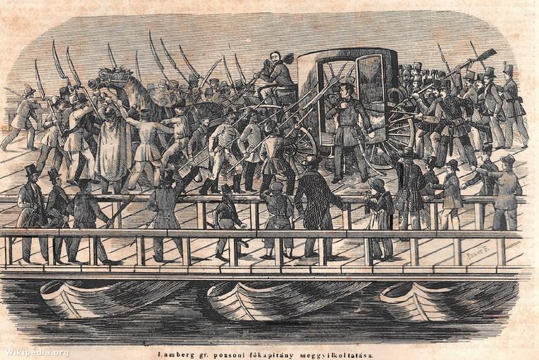 A Jellasics fővárosba érkezésétől tartó, feldühödött forradalmi tömeg a pest-budai hajóhídon felismerte és kegyetlenül meggyilkolta Lamberget.