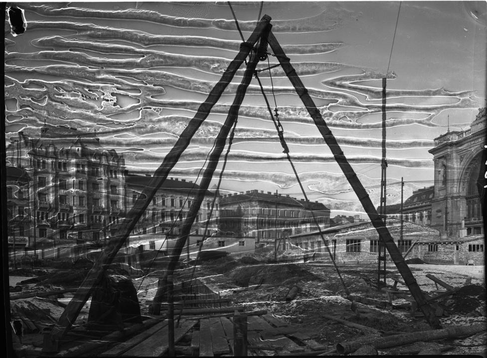 Baross tér, építkezés a Keleti pályaudvarnál