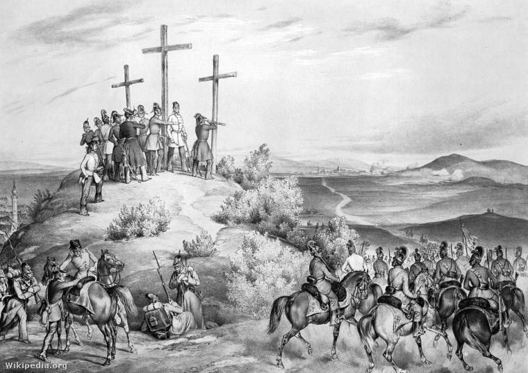 Haynau és törzskara 1849. augusztus 9-én Kis-Becskereknél
