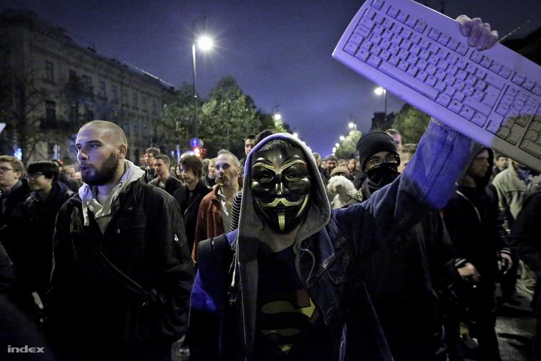 Tüntetés a netadó ellen Budapesten 2014. október 26-án.