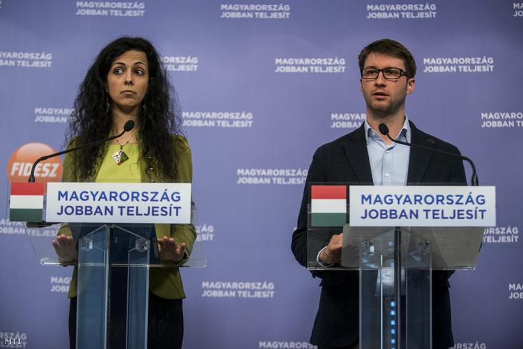 Koncz Zsófia, a Fidelitas országos alelnöke és Böröcz László, a Fidelitas elnöke