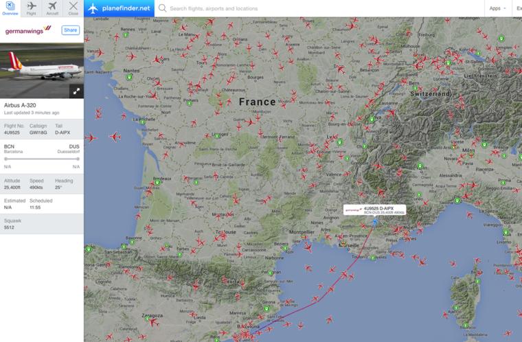 A lezuhant gép útvonala a Flightradar térképén.