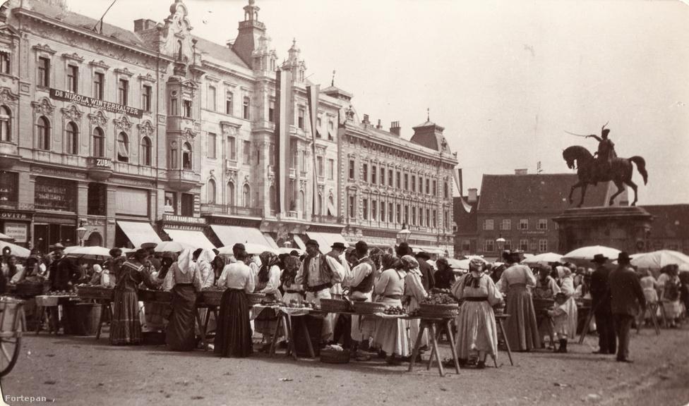 Zágráb Jelasics bán tér (Trg bana Josipa Jelačića), Jelasics bán lovasszobra.