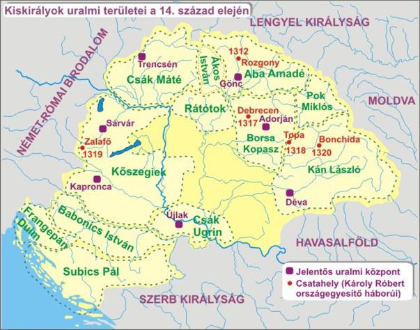 Kiskirályok uralmi területei