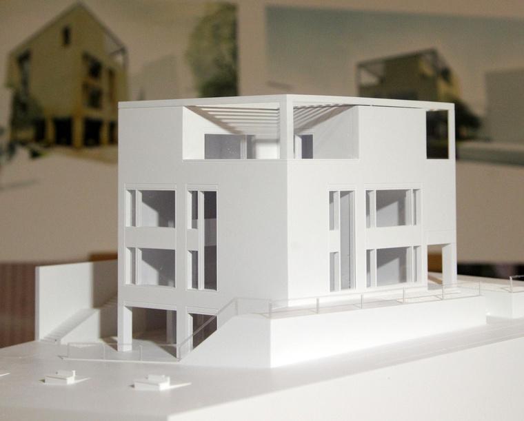 A tervezett épület az új városközpont felől