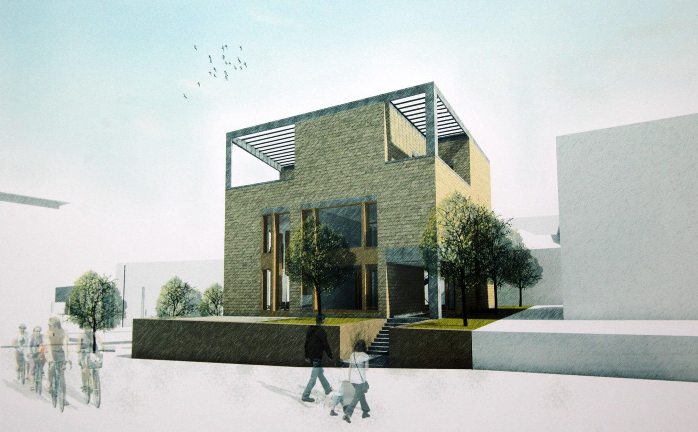 Az új épület terve a Törpe utca felől