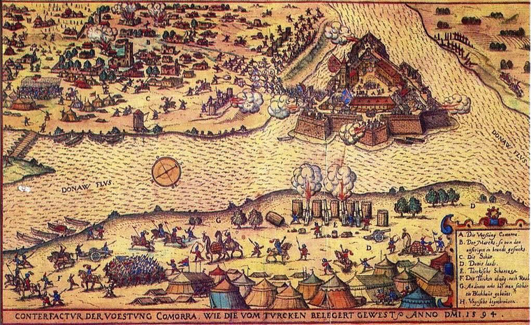 A törökök által körbezárt Komárom 1594-ben. Johann Sibmacher rézkarca W. Dilich alapján 1603-ból