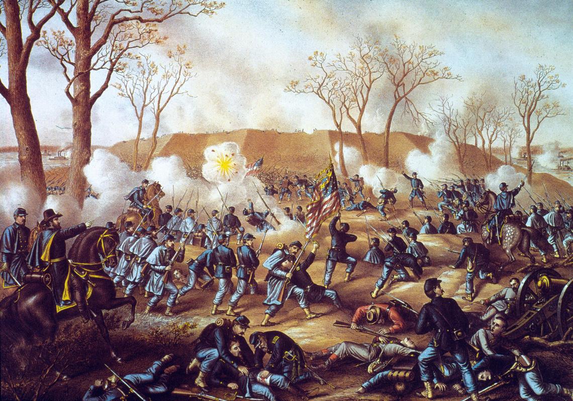 Korabeli illusztráció a Fort Donelson-i csatáról.