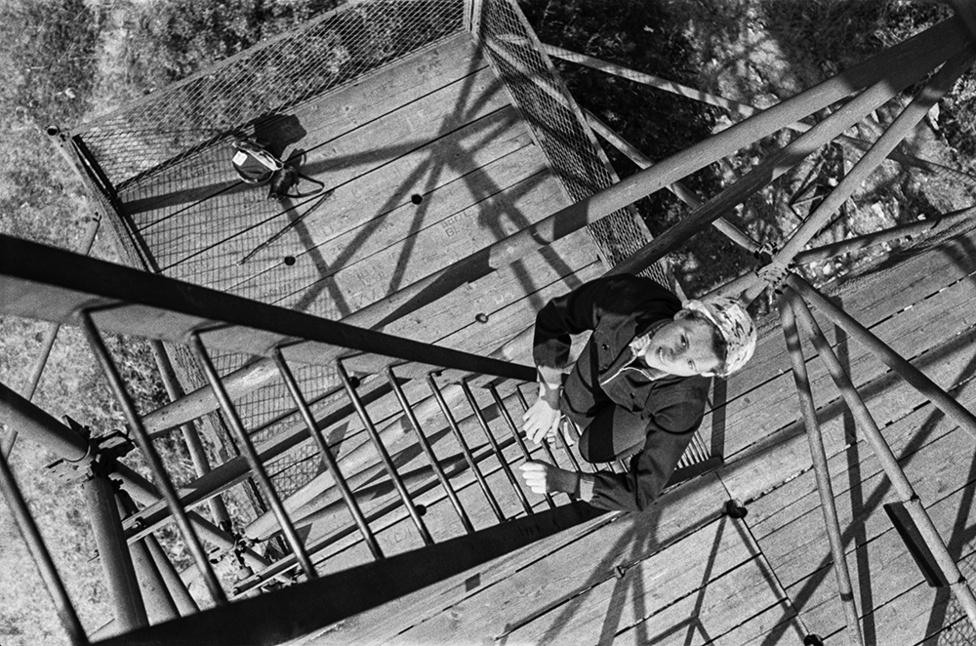 Böbe a létrán, Bükk, Magyarország   Betty on the ladder, Bükk Mountain, Hungary, 1956                               giclée print, 2015                              48 x 31 cm