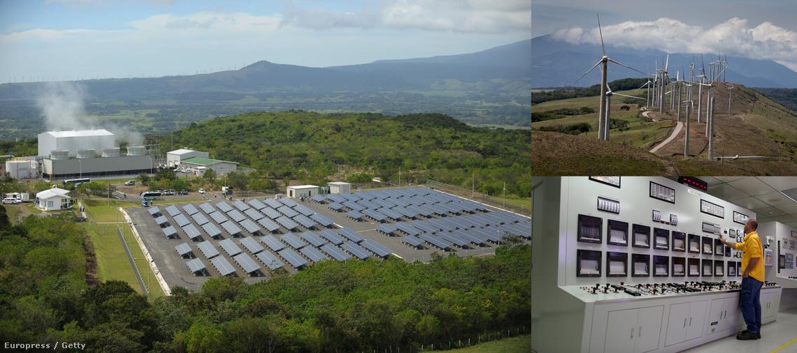 Nap, szél-és geotermikus erőművek Costa Ricában