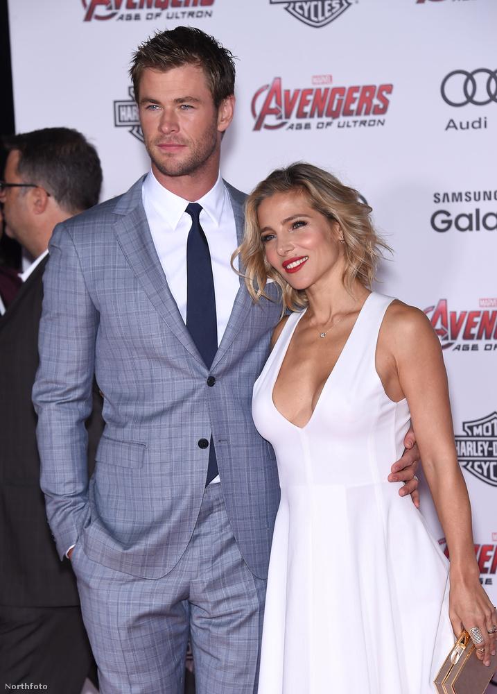 Ha már párok, a filmben Thort alakító Chris Hemsworth látható itt nejével, Elsa Patakyval.