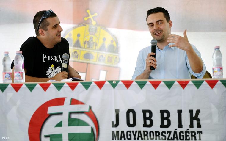 Vona Gábor pártelnök és Balczó Mátyás, a Barikád hetilap szerkesztője