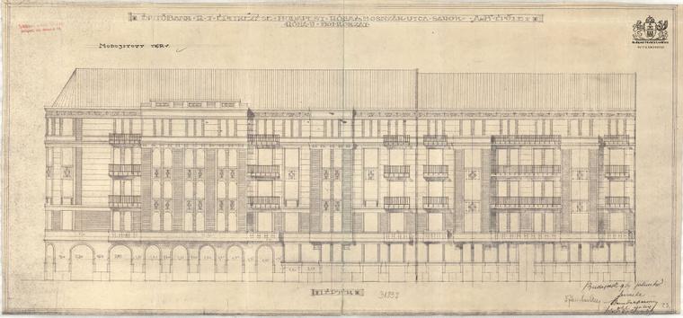 A ház Róna utcai homlokzatának eredeti tervrajza