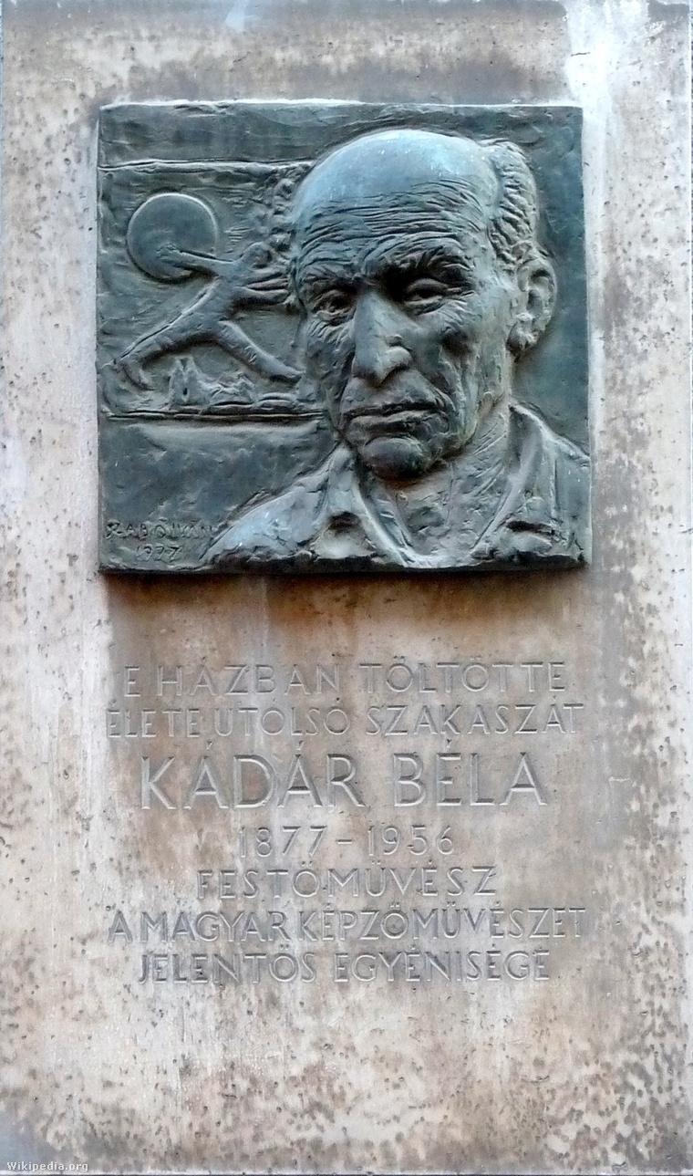 Kádár Béla emléktáblája 2011-ben. Szabó István alkotása