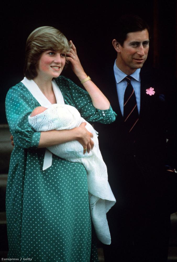 Diana hercegné és Károly herceg az újszülött Vilmossal 1982-ben