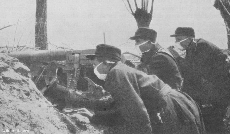 Belgian Troops with Early Gas Masks