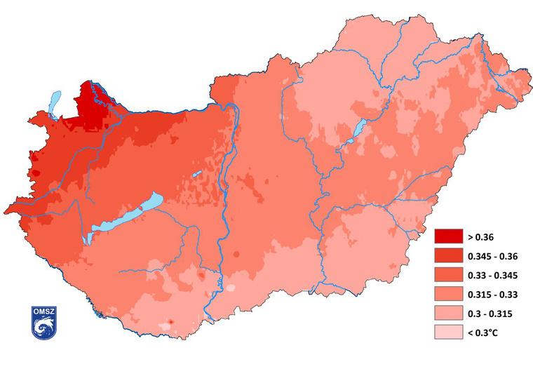 Az átlagos éves középhőmérséklet 1981–2010 és 1971–2000 normál időszakok közötti különbségének területi eloszlása (homogenizált, interpolált adatok alapján)
