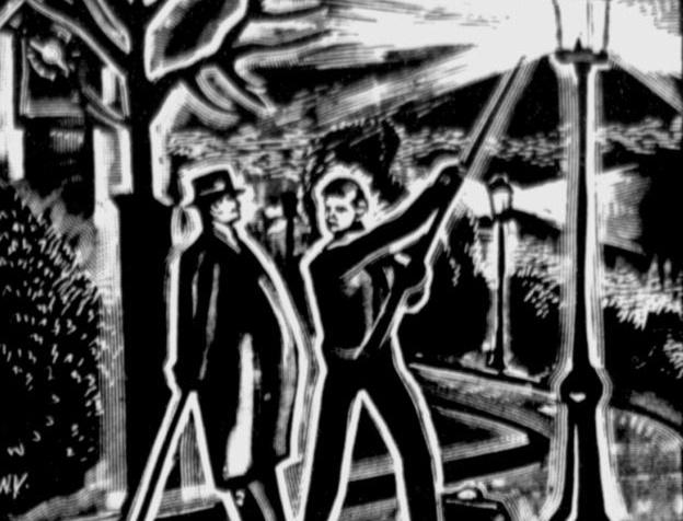 A Korabeli újság illusztrációja, amin Kern Pál egy lámpaoltóval beszélget az utcán