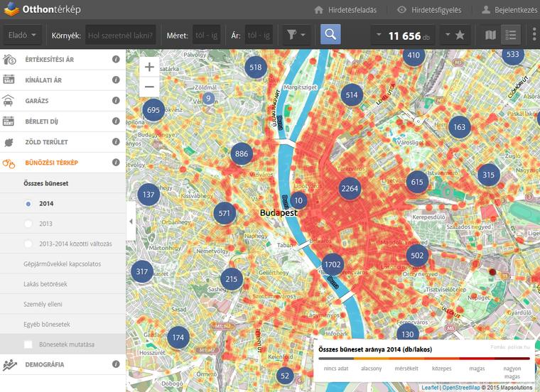 bűnözési térkép budapest Index   Urbanista   Te mennyire veszélyes környéken laksz? Nézd  bűnözési térkép budapest