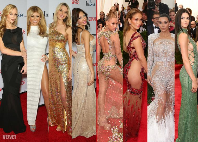 A kép bal oldalán a pornószínésznők pózolnak az idei AVN díjátadón, a jobb oldalon pedig befolyásos hírességeket láthat a MET gálán