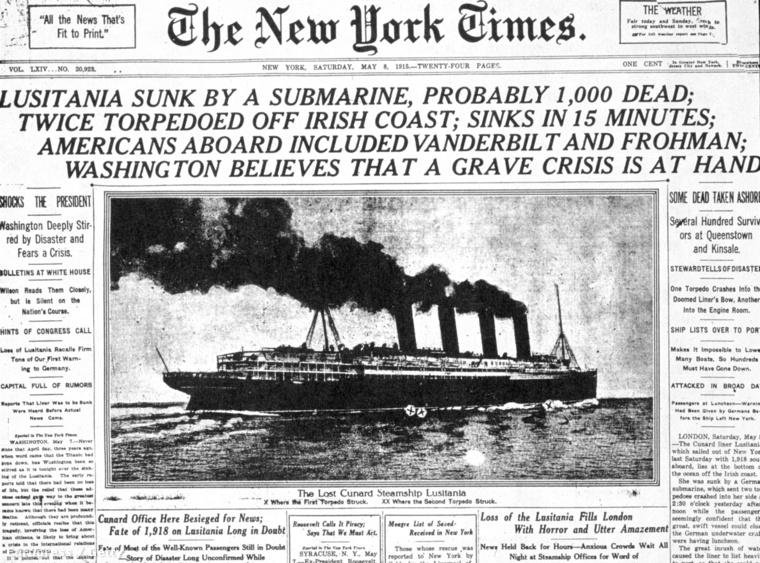 A New York Times címlapja a tragédia másnapján. Az első hírek még két torpedóról szóltak.