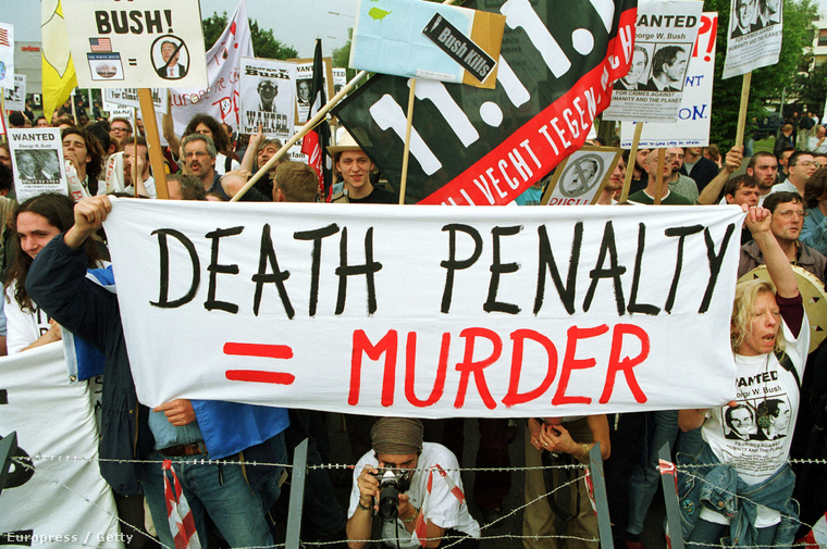 Halálbüntetés-ellenes tüntetés Brüsszelben, George W. Bush amerikai elnök 2001-es látogatásakor