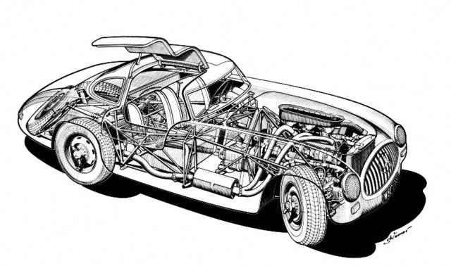 Az 1952-es 300SL szerkezeti rajza