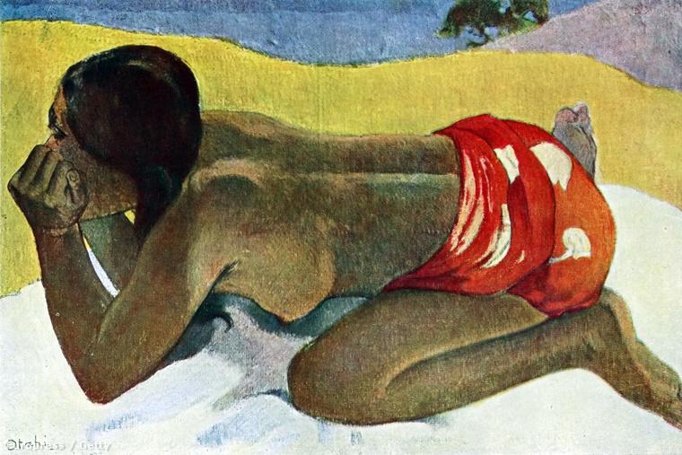 Gauguin pucsítós képe Tahitiről