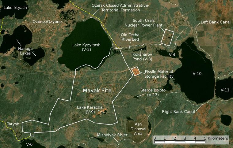 Satellite image map of Mayak