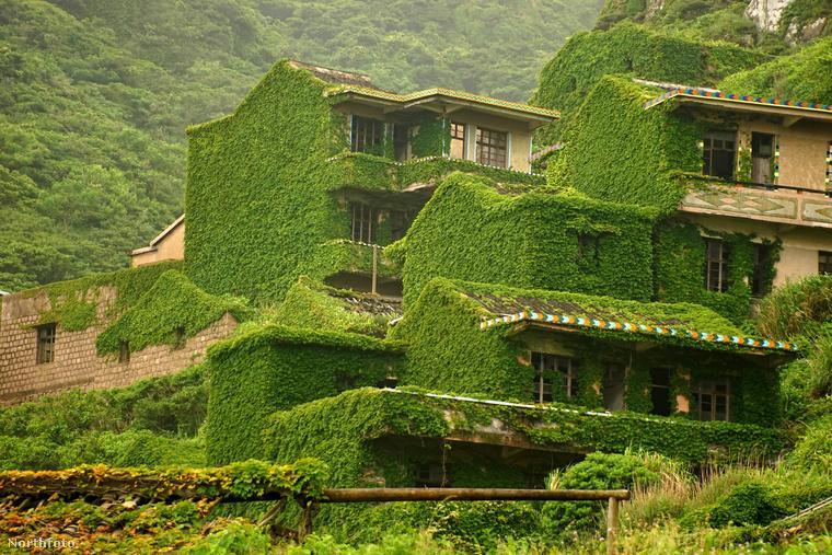 A kőházak érintetlenül maradtak, ám a zöld növényzet teljesen benőtte az egykor forgalmas, mára már szellemlakta falut.