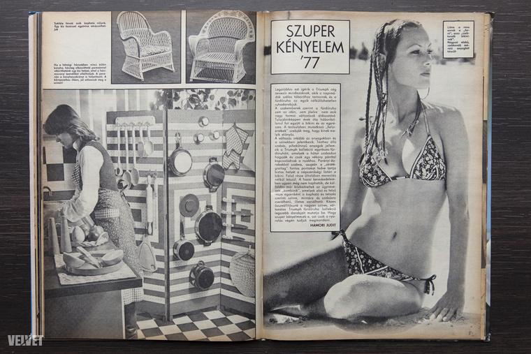 Bezzeg '77-ben még ajánlgatták a zsebkendő méretű bikinit! (Azért vegyék észre a lábasparavánt is.)