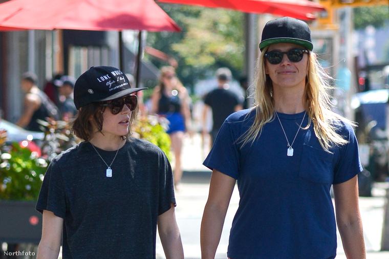 Ellen Page pedig a csajával mutatkozott, és olcsó játék hülyegyerekeknek, tudjuk, de nem tudtunk nem nevetni azon a másfél fejnyi különbségen köztük.