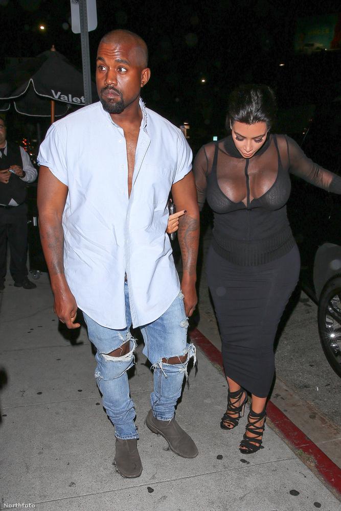 A terhes Kim Kardashian Kanye Westtel érkezett és távozott