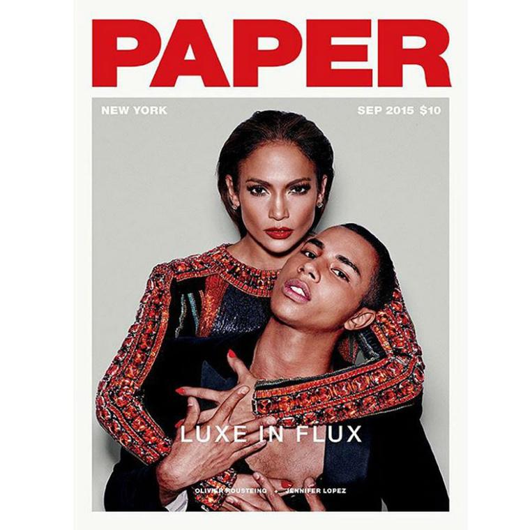 Jennifer Lopez, illetve Olivier Rousteing szerepel a szeptemberi Paper magazin címlapján