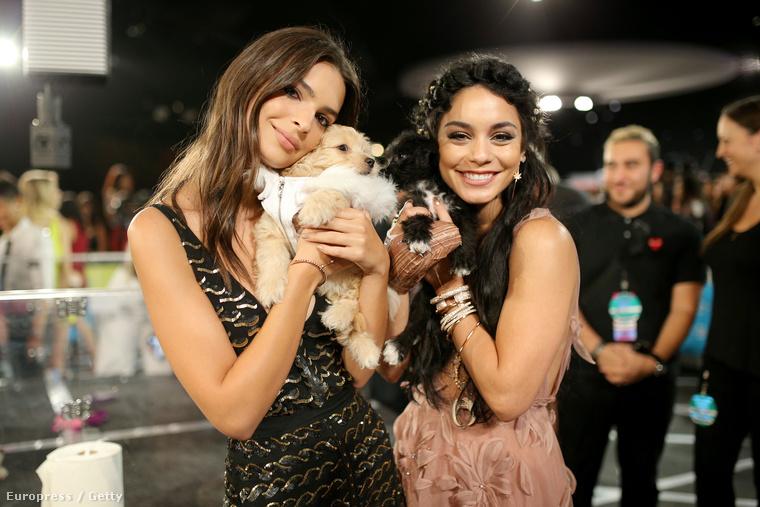 Na meg Emily Ratajkowski, illetve Vanessa Hudgens, akik azért ölelgettek kiskutyákat...