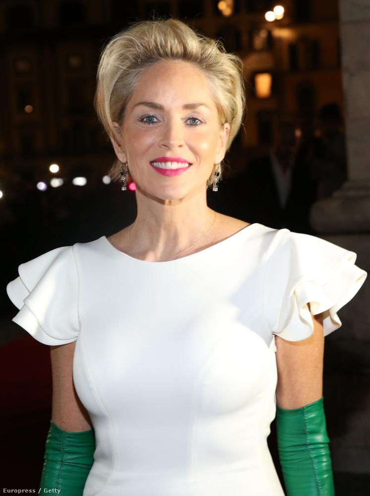 Sharon Stone egy firenzei jótékonysági estre ment egy meglehetősen szűk ruhában